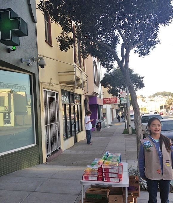 Genius Girl Scout Sets Up In Front Of A Marijuana Dispensary