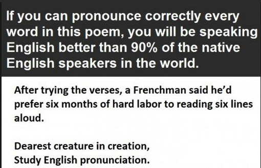 English poem hard to pronounce celebrity